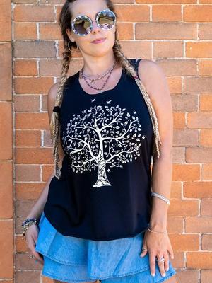 Canottiera donna Ramita nera con stampa argento - albero della vita