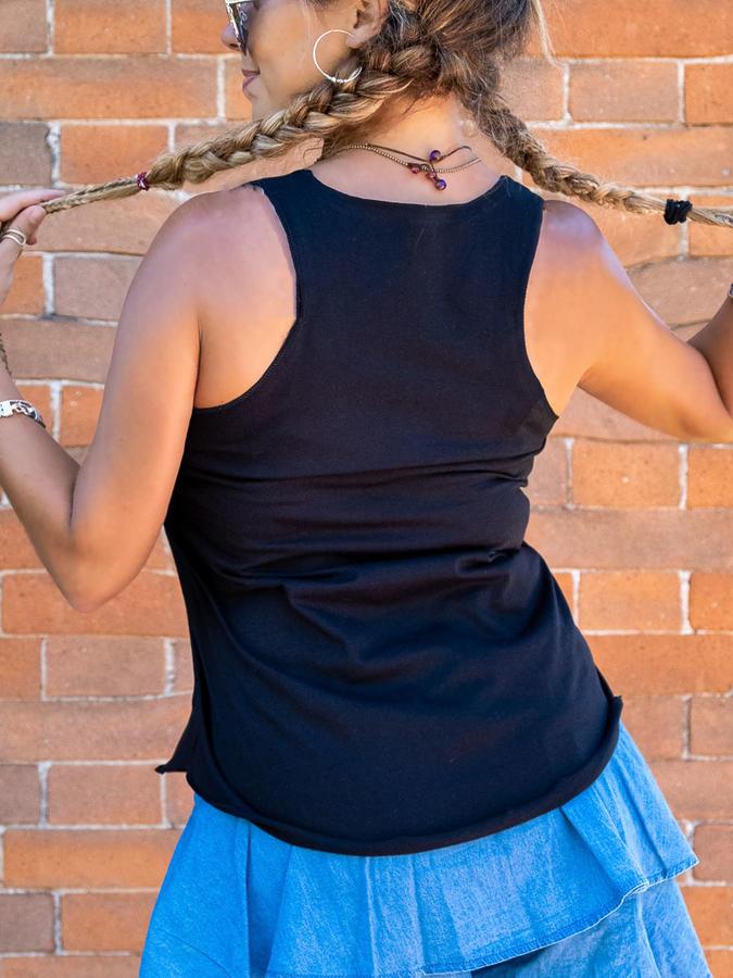 Canottiera donna Ramita nera con stampa argento - piume