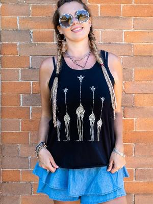 Canottiera donna Ramita nera con stampa argento - giraffe