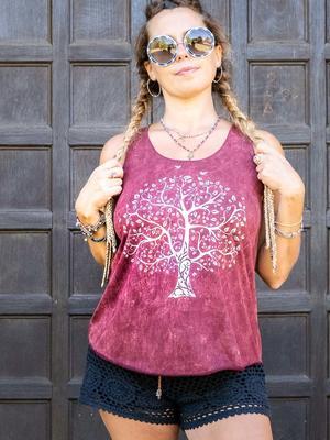 Canottiera donna Ramita bourdeaux con stampa argento - albero