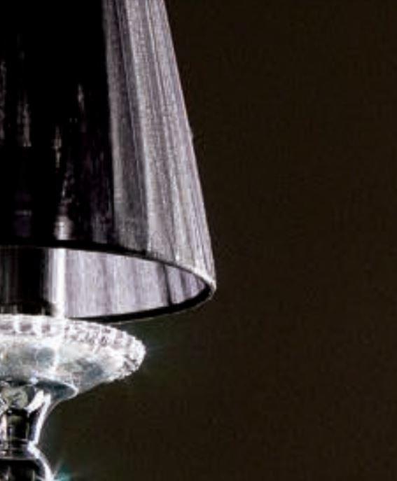 Lampada da Parete/Applique Dark Lady di Febo in Metallo Cromato e Paralumi in Organza Bianca o Nera, Varie Misure - Offerta di Mondo Luce 24