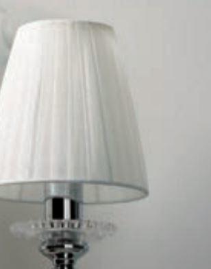 Lampada da Tavolo/Lume Dark Lady di Febo in Metallo Cromato e Paralumi in Organza Bianca o Nera, Varie Misure - Offerta di Mondo Luce 24