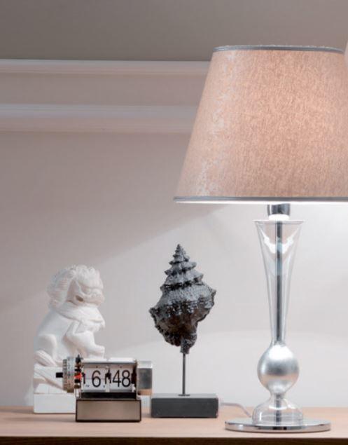Lume Carmencita di Febo in Vetro Borosilicato Trasparente e Paralume in Seta Argento, Varie Misure - Offerta di Mondo Luce 24
