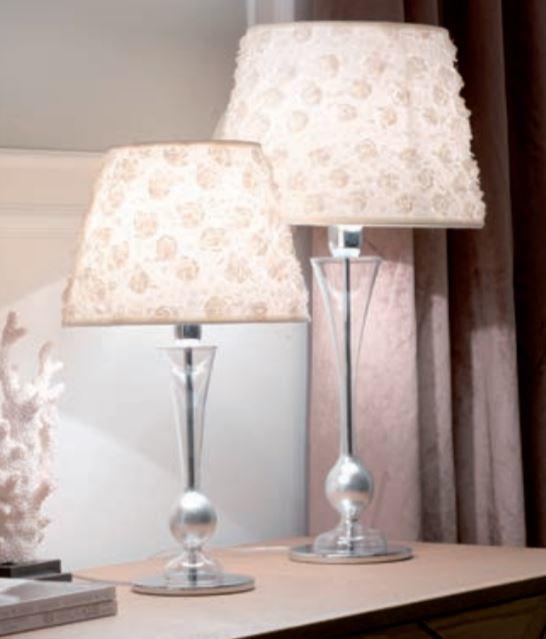 Lampada da Tavolo/Lume Carmencita di Febo in Vetro Borosilicato Trasparente e Paralume in Tessuto con Rose, Varie Misure - Offerta di Mondo Luce 24