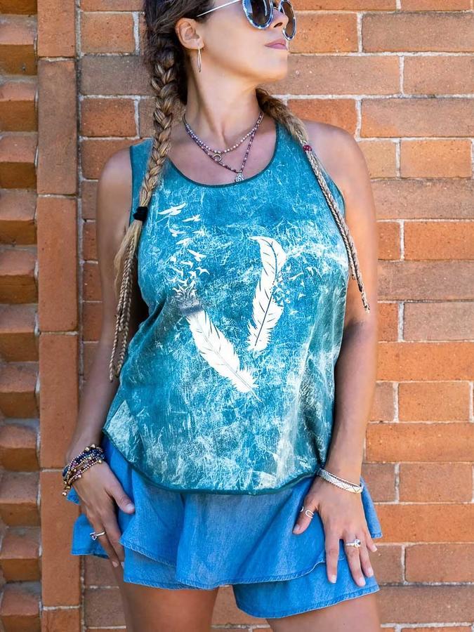 Canottiera donna Ramita verde lavato con stampa argento - piume