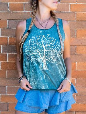 Canottiera donna Ramita verde lavato con stampa argento - albero
