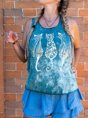 Woman tank top Ramita green stone washed with silver print - cats
