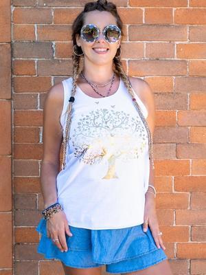 Canottiera donna Ramita bianca con stampa oro - albero