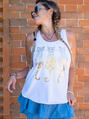 Woman tank top Ramita white with gold print - cats