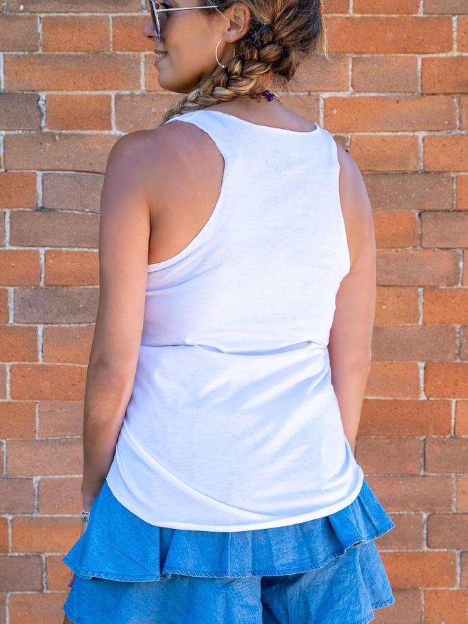 Camiseta sin mangas blanca de mujer Ramita con estampado de oro – gatos