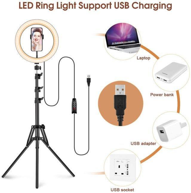 Luce ad Anello LED con Stativo Treppiede, 12 Pollice Dimmerabile Selfie Ring Light