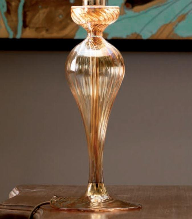 Lume Class di Febo in Vetro Borosilicato Ambra con Finiture in Oro e Paralume Ramage, Varie Misure - Offerta di Mondo Luce 24
