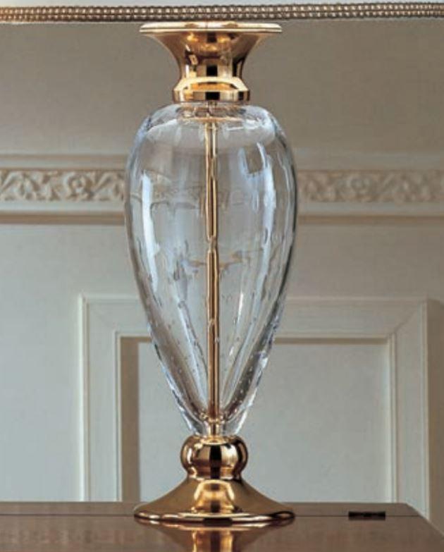 Lume Class di Febo in Cristallo PulegosoTrasparente, Finiture Oro e Paralume Pongè Bianco, Varie Misure - Offerta di Mondo Luce 24