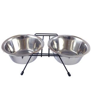 Ciotola Doppia Per Cani Con Supporto in Acciaio Media Grande Taglia Ciotole 25 cm