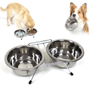 Ciotola Doppia Per Cani Con Supporto in Acciaio XL Grande Taglia Ciotole 28 cm