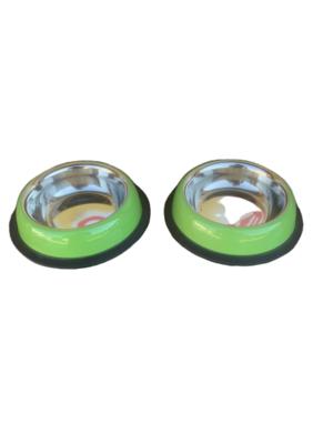 2 Ciotole 10cm Acciaio Inox Verde Antiscivolo Per Cani e Gatti Acqua Crocchette Ciotola