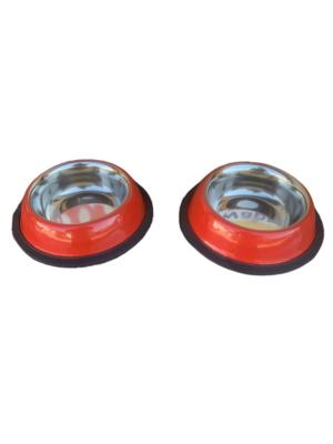 2 Ciotole 10cm Acciaio Inox Rossa Antiscivolo Per Cani Gatti Acqua Crocchette Ciotola