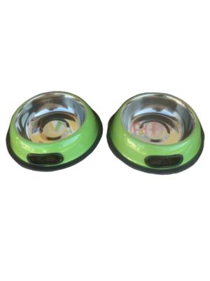2 Ciotole 15 cm Acciaio Inox Verde Antiscivolo Per Cani Gatti Acqua Crocchette