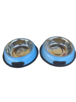 2 Ciotole 17 cm Acciaio Inox Blu Antiscivolo Per Cani Gatti Acqua Crocchette