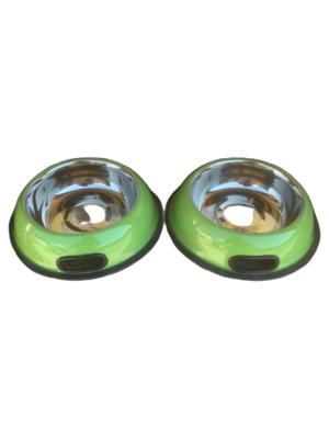 2 Ciotole 18 cm Acciaio Inox Verde Antiscivolo Per Cani Gatti Acqua Crocchette