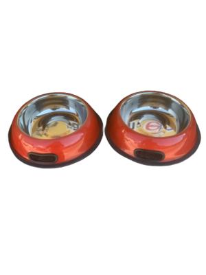 2 Ciotole 18 cm Acciaio Inox Rosso Antiscivolo Per Cani Gatti Acqua Crocchette