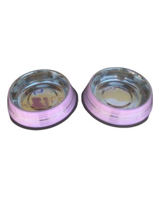2 Ciotole 25 cm Acciaio Inox Rosa Antiscivolo Per Cani XL Acqua Crocchette