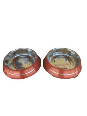 2 Ciotole 25 cm Acciaio Inox Rosso Antiscivolo Per Cani XL Acqua Crocchette
