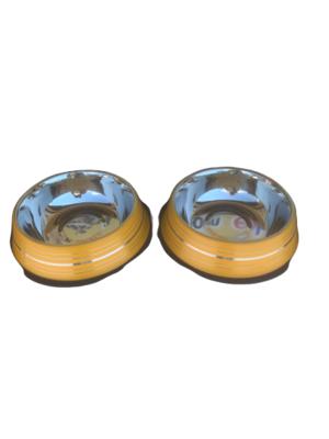 2 Ciotole 22 cm Acciaio Inox Gialla Antiscivolo Per Cani Acqua Crocchette
