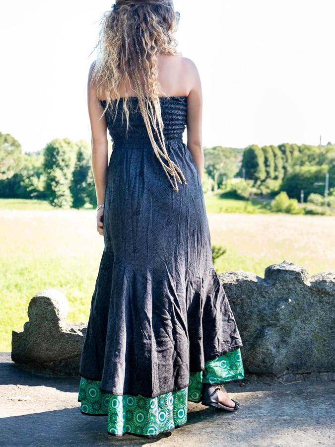 Women's dress Shanti - bicolor dark gray / geometric green