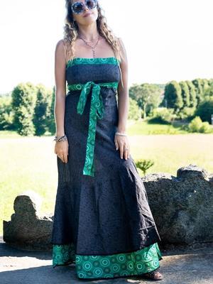 Vestito donna autoreggente Shanti - bicolor grigio scuro / geometrico verde