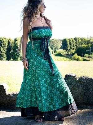 Women's dress Shanti - bicolor geometric green / dark gray