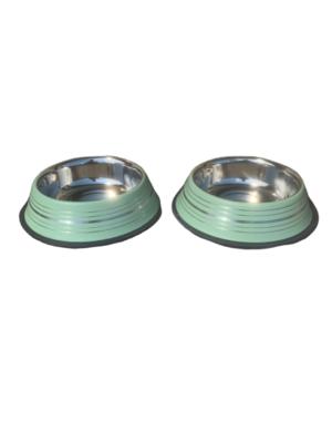 2 Ciotole 17 cm Acciaio Inox Verde Antiscivolo Per Cani Acqua Crocchette