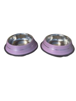 2 Ciotole 17 cm Acciaio Inox Rosa Antiscivolo Per Cani Acqua Crocchette