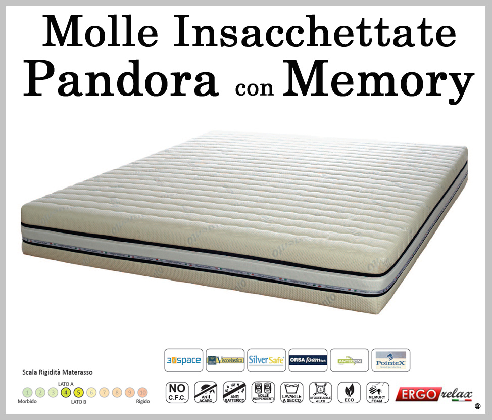 Materasso Molle Insacchettate Mod. Pandora 170 con Memory ...