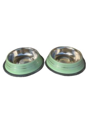 2 Ciotole 15 cm Acciaio Inox Verde Antiscivolo Per Cani Acqua Crocchette