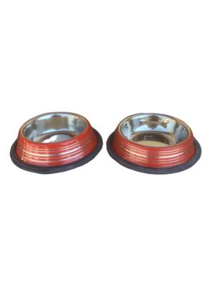 2 Ciotole 10 cm Acciaio Inox Rosso Antiscivolo Per Cani Gatti Acqua Crocchette
