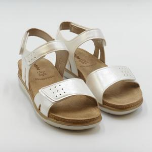 Sandalo basso con strappi PG000020 In Blu color avorio