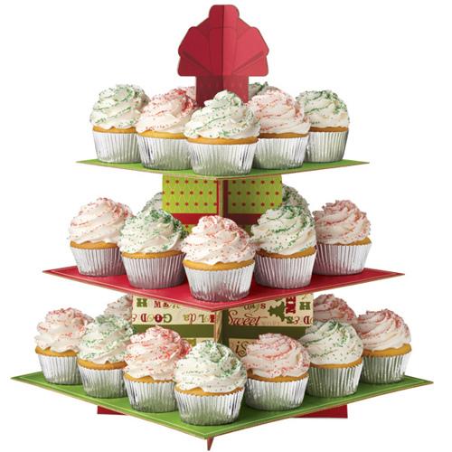 Espositore in cartone natalizio per cupcakes