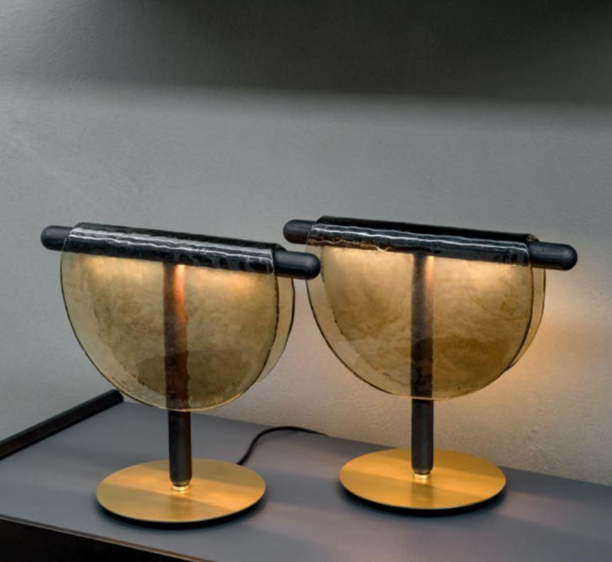 Lume Dalì di Tonin Casa in Legno Massello, Vetro in Fusione e Metallo Rifinito in Oro Spazzolato, Varie Finiture - Offerta di Mondo Luce 24