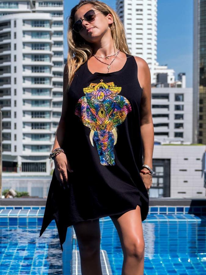 Camiseta sin mangas negra larga Chitra – elefante