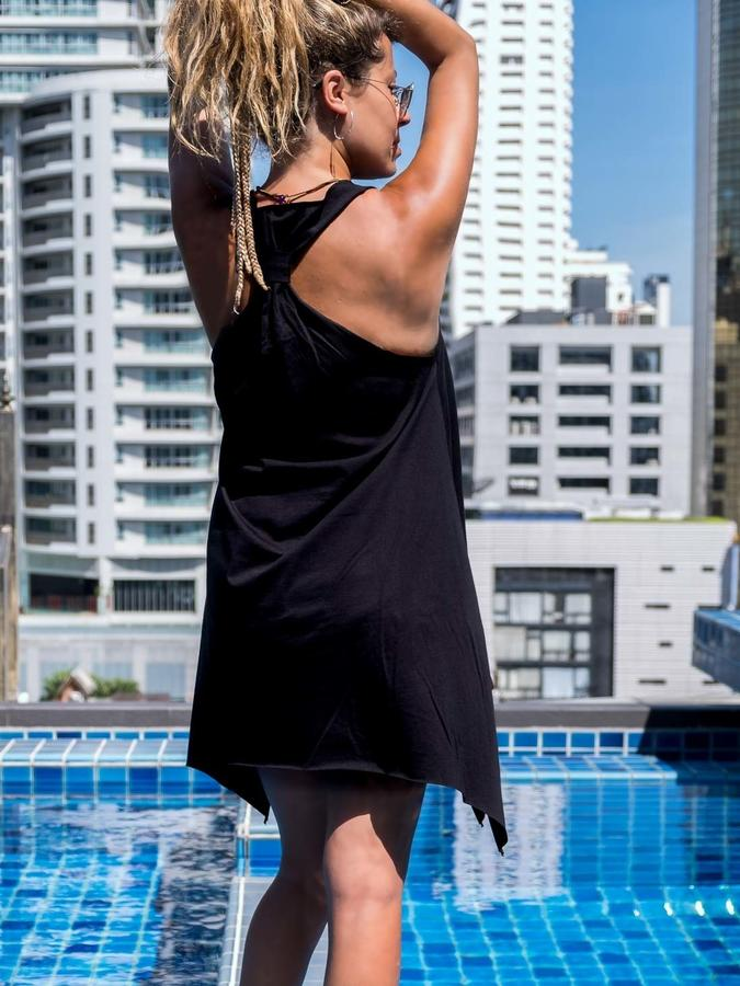 Canottiera lunga Chitra nero - yoga