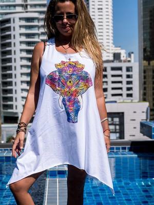 Camiseta sin mangas blanco larga Chitra – elefante