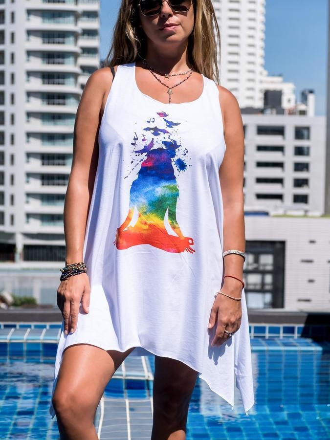 Camiseta sin mangas blanco larga Chitra – yoga