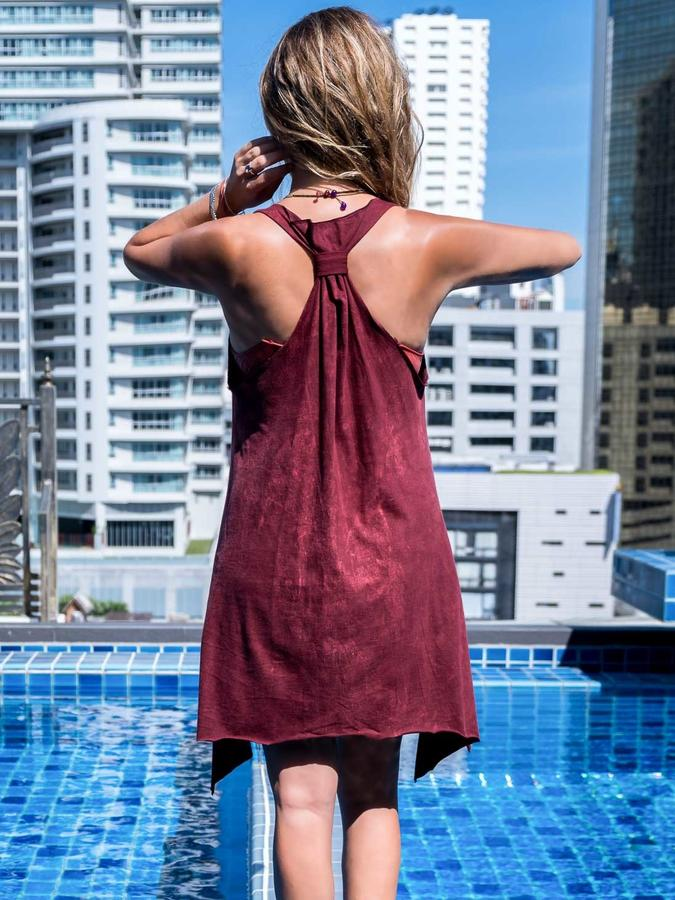 Long bordeaux tank top Chitra with silver print – feathers