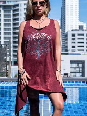 Long bordeaux tank top Chitra with silver print – tree