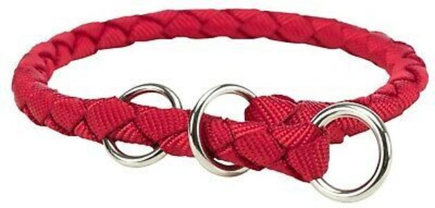 Trixie Collare L in Treccia Tubolare Rosso Semistrozzo Addestramento Cani  47-55 cm