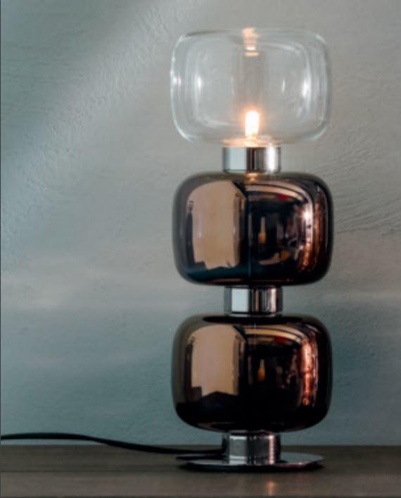 Lampada da Tavolo Retrò di Tonin Casa in Metallo Cromato e Vetro Trasparente Colorato, Varie Misure e Finiture - Offerta di Mondo Luce 24