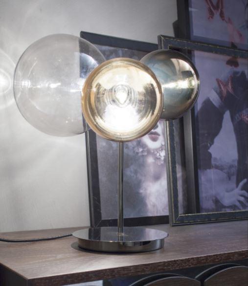 Lampada da Tavolo Atomo di Tonin Casa in Vetro Soffiato con Filo Tessuto Grigio Antracite, Varie Finiture - Offerta di Mondo Luce 24
