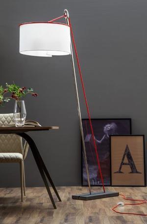 Lampada da Terra Ago e Filo di Tonin Casa in Metallo Cromato, Paralume Cotonette e Cavo Rosso - Offerta di Mondo Luce 24
