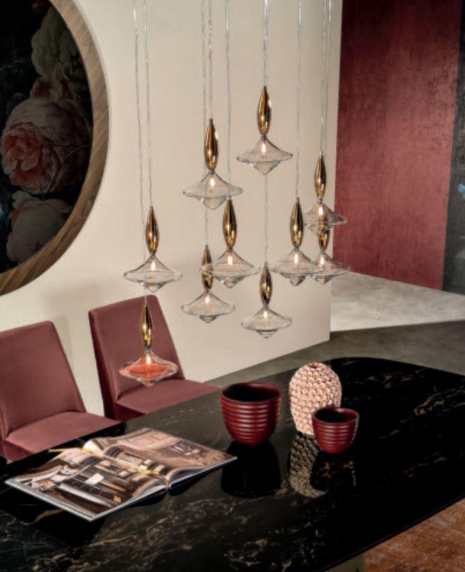 Lampada a Sospensione Etoile di Tonin Casa in Vetro Trasparente e Specchio, Varie Misure e Finiture - Offerta di Mondo Luce 24